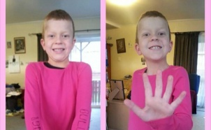 Sara Coppells son is proud in pink